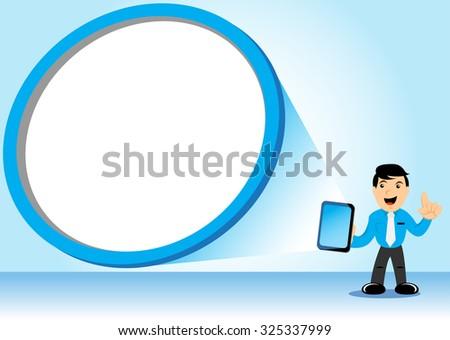 Businessman Holding Tab - stock vector