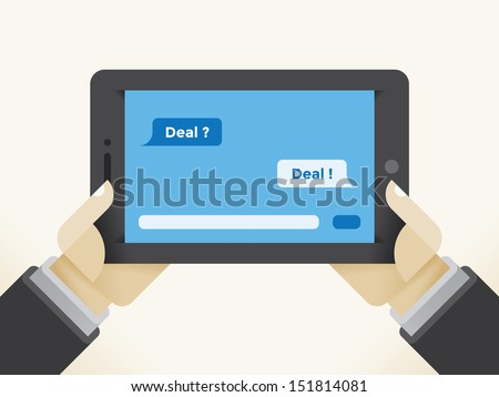 Businessman holding tablet computer with question Deal? and answer Deal! SMS messages chat. - stock vector