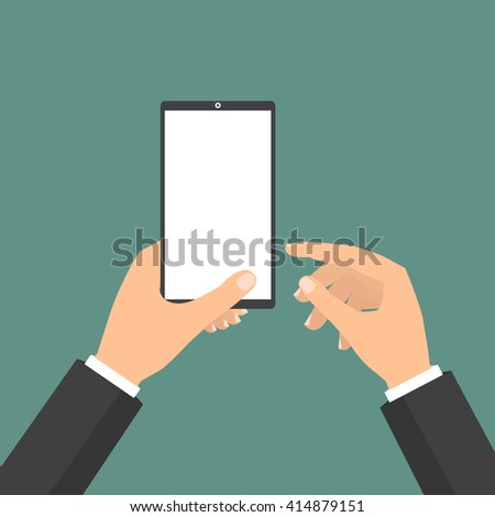 Businessman holding tablet smart phone and point to display. Vector illustration cloud Internet of Things concept. - stock vector