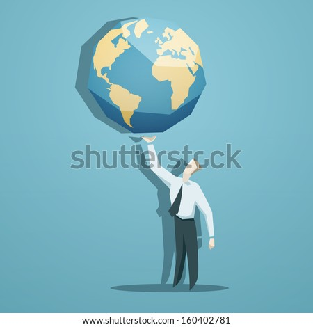 Businessman holding the world in his hands - stock vector