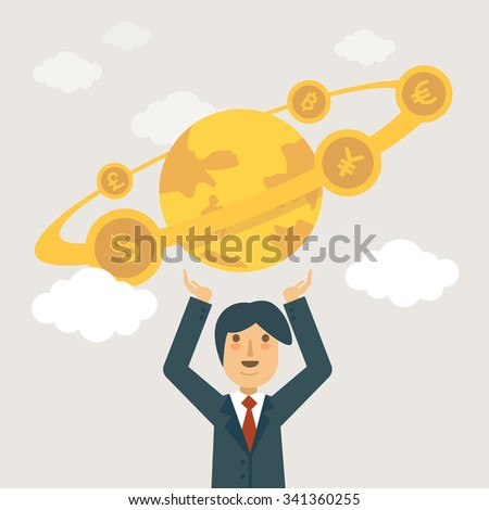 Businessman holding the world in his hands. World economy concept illustration. - stock vector