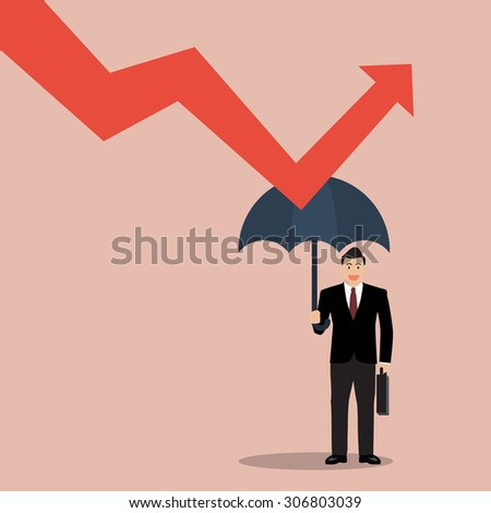 businessman holding umbrella protect graph down. Protection from economic crisis
