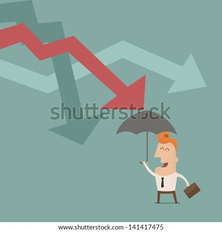 businessman holding umbrella protect graph down , Vector EPS10 - stock vector