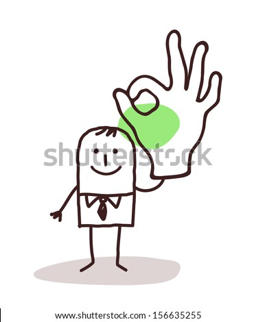 Businessman Holding Up an OK Sign hand - stock vector