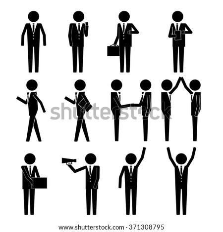businessman holding various item & gadget and activities info graphic icon vector sign symbol pictogram