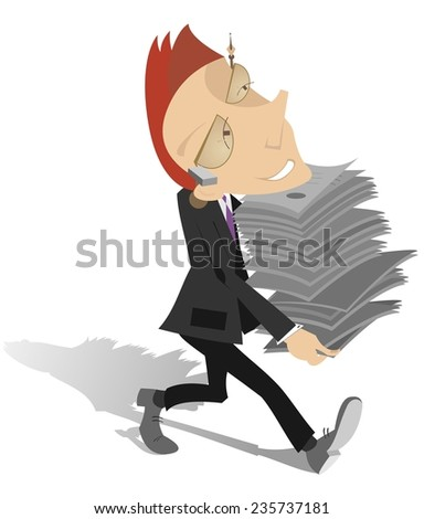 Businessman holds a lot of papers in his hands - stock vector