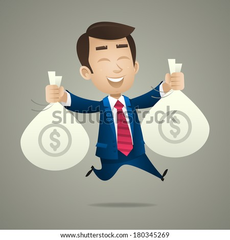 Businessman holds bags with money - stock vector