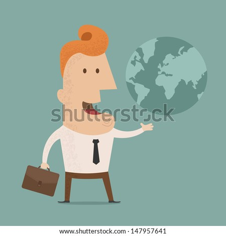 Businessman holds Earth in a hand  , eps10 vector format - stock vector