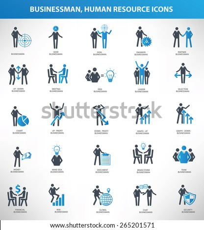 Businessman, Human resource icon set,blue version,clean vector - stock vector