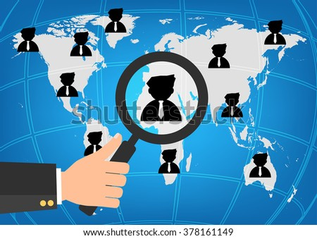 Businessman human resources hold a magnifying glass for choosing the right person on word map for international best position.Vector illustration recruitment and job search concept. - stock vector