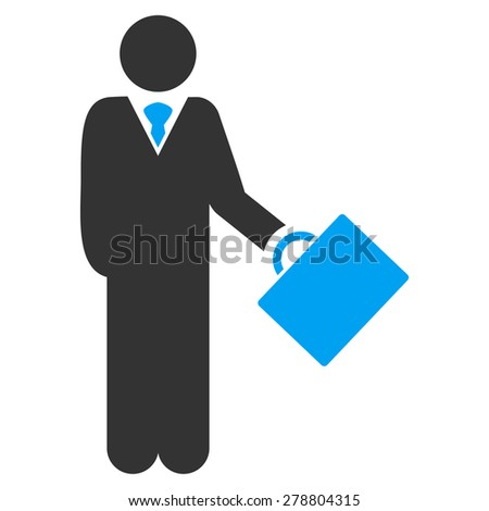 Businessman icon from Business Bi color Set. This isolated flat symbol uses modern corporation light blue and gray colors. - stock vector
