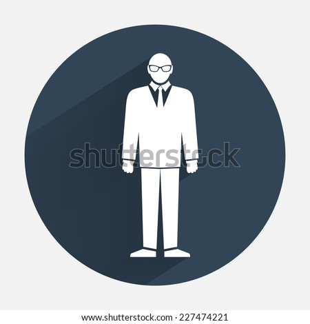 Businessman icon. Office worker symbol. Standing men in suit with tie and glasses silhouette. Round dark gray circle flat icon with long shadow. Vector isolated - stock vector