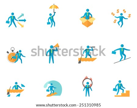 Businessman icons in flat color style - stock vector