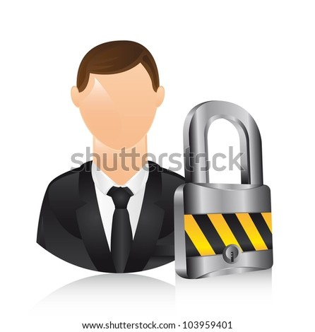 businessman icons with padlock. vector illustration