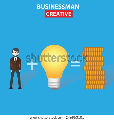Businessman, Idea, Make money, business concept on blue background, clean vector - stock vector
