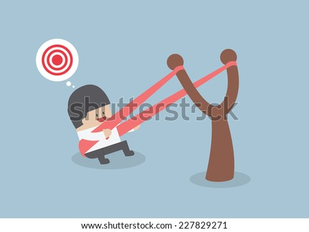 Businessman in a slingshot ready to launch to target, VECTOR, EPS10 - stock vector