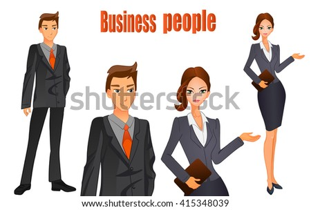 Businessman in a suit and business women with brown hair. Orange tie. VECTOR illustration on white background.  - stock vector