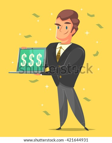 Businessman in a suit. Cartoon style character. Vector illustration.   - stock vector