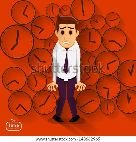 Businessman in a time pressure by deadline in working - stock vector