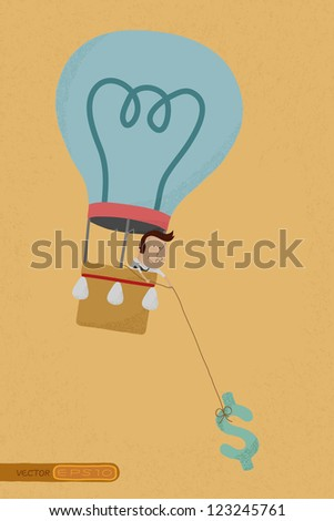 Businessman in balloon idea collect money , eps10 vector format - stock vector