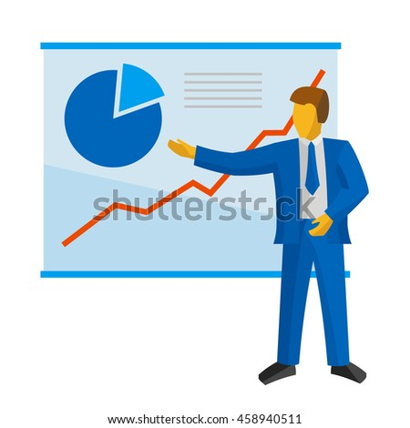Businessman in blue suit shows a poster with charts - stock vector