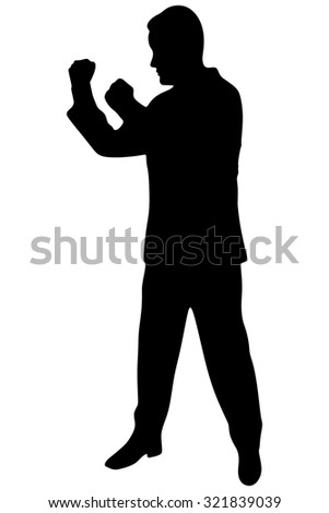 businessman in boxing stance,