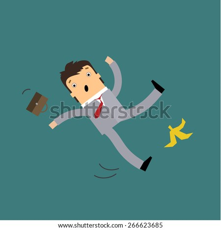 Businessman in cartoon style slipping on a banana peel and falling down with outstretched arms and motion trails - stock vector