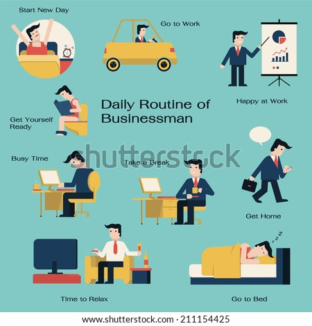 Businessman in daily routine, get up, drive to work, working,  presenting, take a break, go home, get relax, and go to bed. Simple in flat design style.  - stock vector