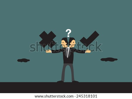 Businessman in dilemma choosing between right and wrong path. Metaphor vector illustration for business ethics in cartoon style. - stock vector