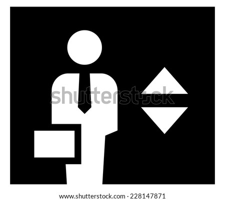 Businessman in elevator icon - stock vector