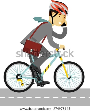 Businessman in helmet with briefcase and smartphone riding a bike isolated on white background in flat style - stock vector
