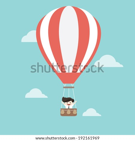 Businessman in hot air balloon - stock vector