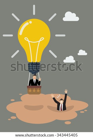 Businessman in lightbulb balloon get away from quicksand. Business concept - stock vector