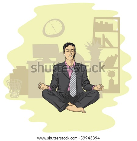 businessman in lotus pose meditating at the office - stock vector