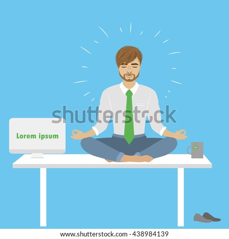 Businessman in lotus pose sitting on the table in office, vector illustration - stock vector