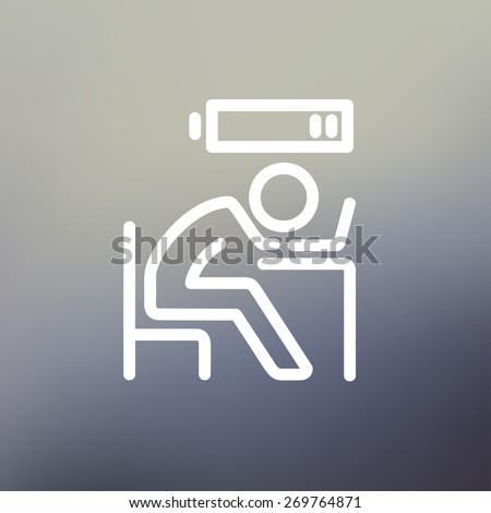 Businessman in low power icon thin line for web and mobile, modern minimalistic flat design. Vector white icon on gradient mesh background. - stock vector