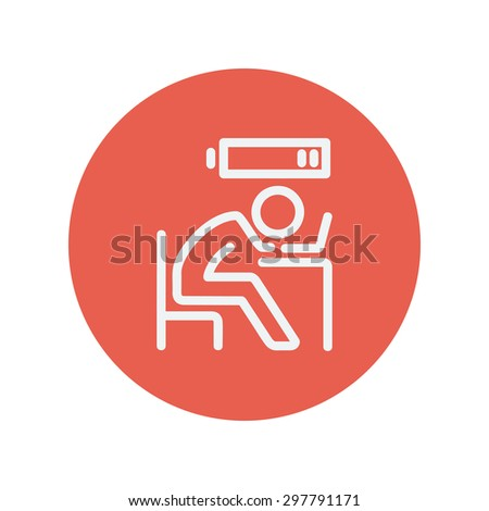 Businessman in low power thin line icon for web and mobile minimalistic flat design. Vector white icon inside the red circle. - stock vector