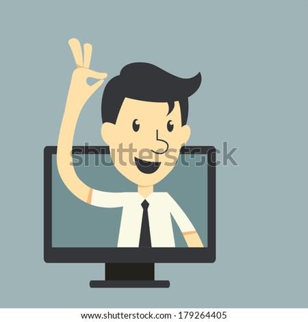 Businessman in monitor screen - stock vector