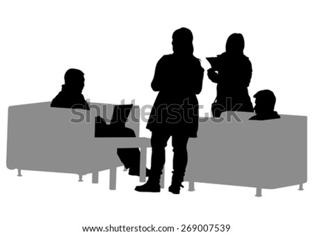 Businessman in suit at table on white background - stock vector