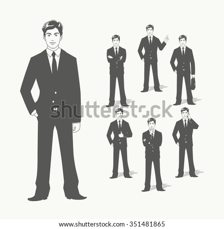 Businessman in suit. Different poses. vector illustration. Transparent objects used for lights and shadows drawing. - stock vector