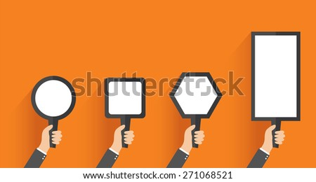 Businessman, in suit man, holding blank banner. vector - stock vector
