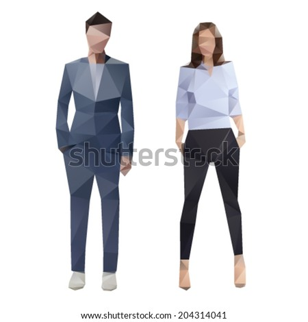 Businessman in suite and businesswoman lowpoly illustration