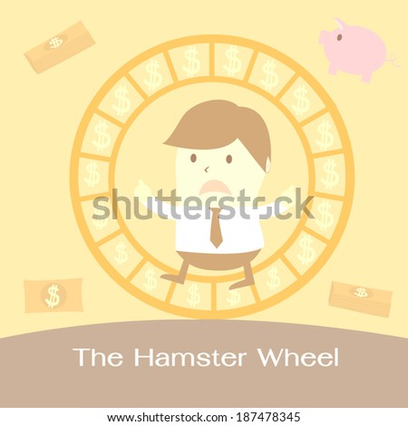 businessman in the hamster wheel - stock vector