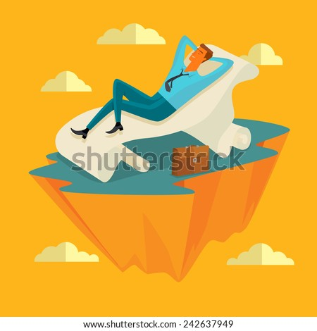 Businessman in the sky position Sleep on a long sheet of paper in peace for any spiritual and inner peace business concepts,vector illustration. - stock vector