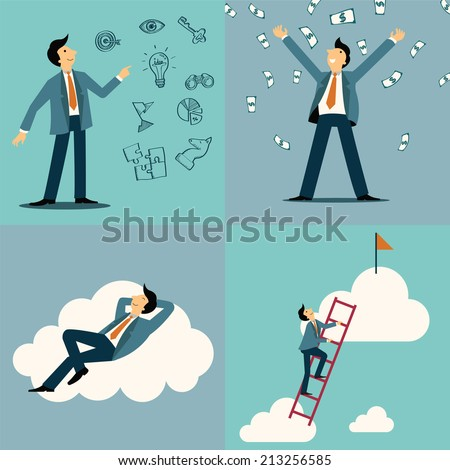 Businessman in various character, with idea and vision sketching icons, money and wealthy concept, lying happiness on cloud, and climbing on ladder to be success. Simply design.  - stock vector