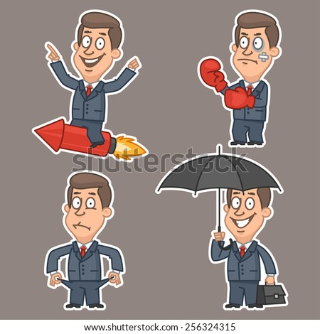 Businessman in various poses stickers - stock vector