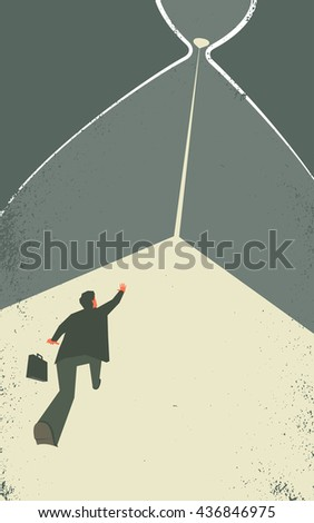 Businessman inside the hourglass. Man is trying to stop the time. Time management concept illustration. EPS10 file. Transparency used.  - stock vector