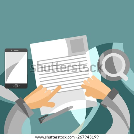 Businessman inspects the printed document. Abstract Business is very careful to check the fine print of his business contract or documents - stock vector