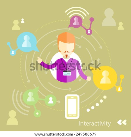 Businessman interactions by social media interactiv with business partners. Interactivity concept in flat design - stock vector