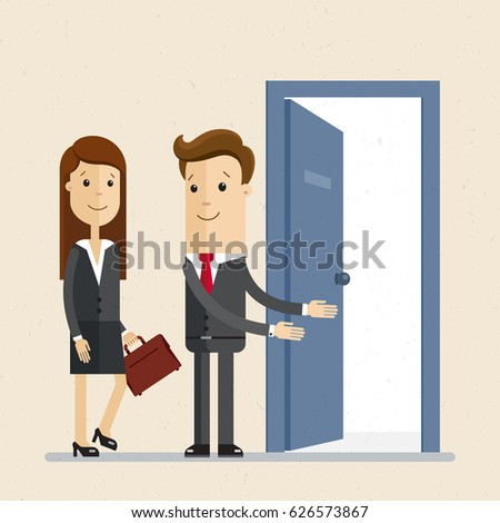 Businessman invites woman office meeting business stock vector businessman invites woman office meeting business stock vector 626573867 shutterstock stopboris Gallery
